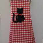 Gingham Cat Applique Apron