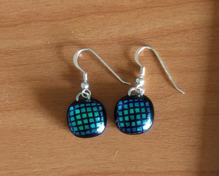 Fused glass dichroic earrings