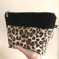 Make Up Pouch Set of Two with Leopard Print Fabric and Silver Metal Look Zippers