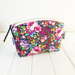 Make Up Pouch Purse with Floral Fabric and Gold Metal Zipper Closure
