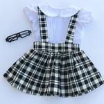 White toddler girl pleatie vintage blouse