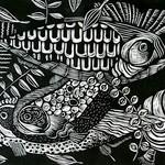 Original Linocut Art Print Fish