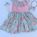 Hope floral ruffle girl dress with bow headband - size 2