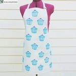 Cotton handprinted linocut cupcake apron