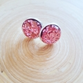 All That Glitters - Silver Plated Studs - Light Pink