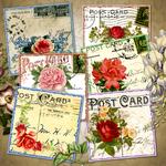 1920s Vintage Postcard Roses Tag Printables