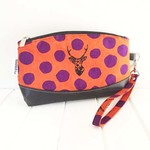 Zipper Pouch Clematis Wristlet in Orange Echino Fabric and Faux Leather Base