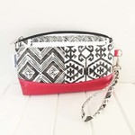 Zipper Pouch Clematis Wristlet in Black & White Fabric and Faux Leather Base