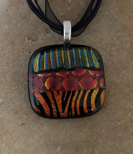 Fused tiger dichroic glass pendant