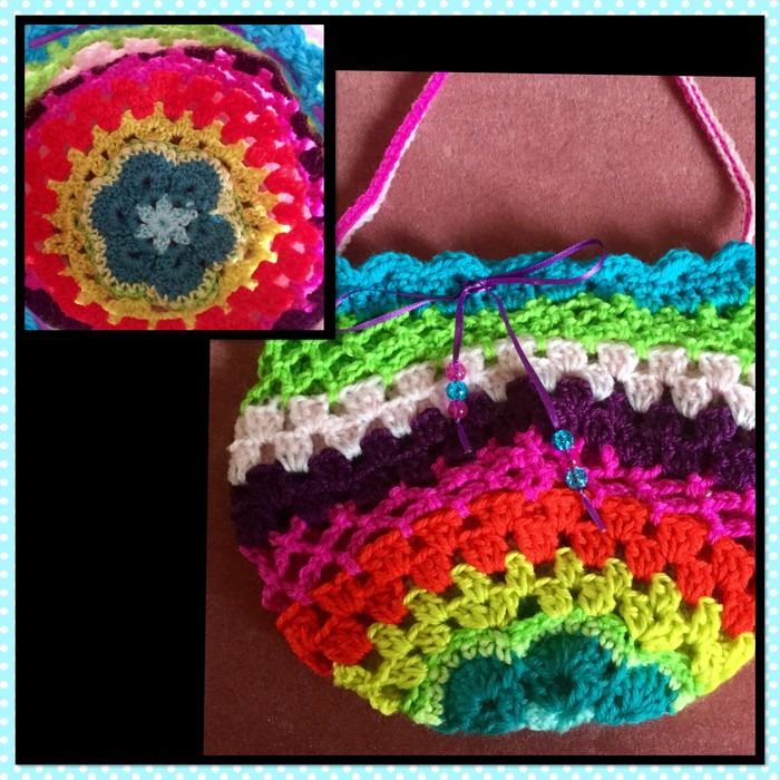 Crochet Bag With Ribbon And African Flower Base Bex Crochet