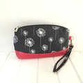 Zipper Pouch Clematis Wristlet in Dandelion Fabric and Faux Leather Base