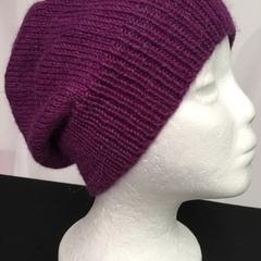Unisex adult hand knit slouchy-beanie  Alpaca-wool Savanna