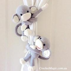 Grey Monkey curtain tie back