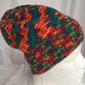 Unisex childs/Youth hand knit slouchy-beanieMulti Acrylic 2