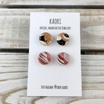 Two pairs of handcrafted polymer clay stud earrings- black white copper, pink