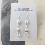Pearl and Diamanté Earrings with Sterling Silver 925 Earring Hooks