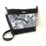 Handbag / Slouch Bag / Bucket Bag with Zebra Fabric and Black Canvas