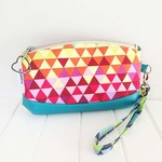 Zipper Pouch Clematis Wristlet in Rainbow Geometric Fabric and Faux Leather Base