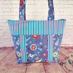 Folk Art Knitting Craft Project Tote Bag