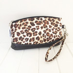 Zipper Pouch Clematis Wristlet in Leopard Print Fabric and Faux Leather Base