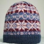 Woman's Pure Merino Wool Beanie, Fair Isle, Blue/Lilac