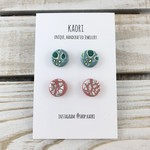 Two pairs of handcrafted polymer clay stud earrings- green floral, pink silver