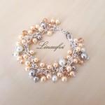 SALE 10% Bracelet - Glass pearl - Cluster - Crystal - Peach, Grey, White -BR042