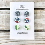 Three pairs of polymer clay stud earrings- blue silver, floral, green splash