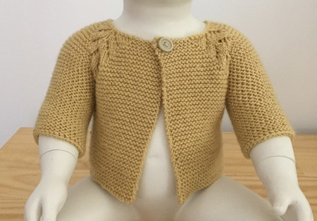 Baby Cardigan, 3 - 6 mths, Yellow Gold Wool, Hand Knit