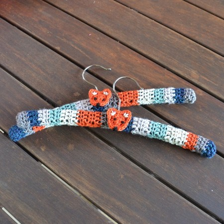 Child's Size Covered Coat Hangers with Fox Motif - Set of 2