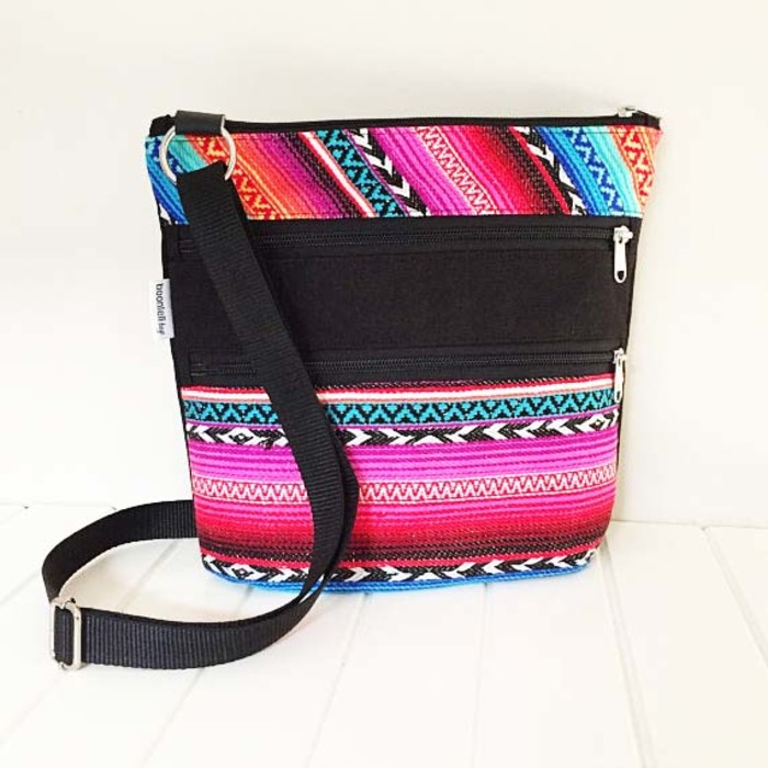 Cross Body Bag in Rainbow Striped Fabric and Black Canvas with Three zippers