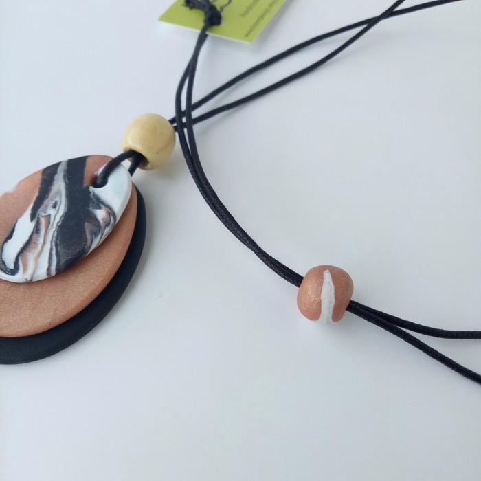 Trio polymer clay pendant in black, copper and white | tsom | madeit ...