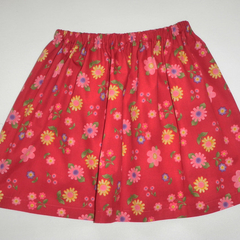 Girls skirt - red floral  - size 3