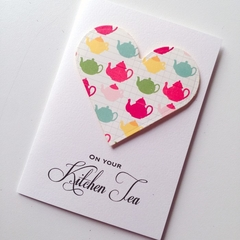 Kitchen tea sweet teapot bright green pink yellow blue bride to be card