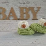 Apple Green Newborn Crochet Baby Booties Shoes Socks Pregnancy Baby Reveal
