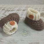 Brown/Cream Newborn Crochet Baby Booties Shoes Socks Pregnancy Baby Reveal