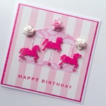 Pink carousel horse stripes merry go round roses sweet happy birthday girl card