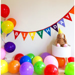 Happy Birthday Rainbow Coloured Bunting Banner Flags Party Decoration