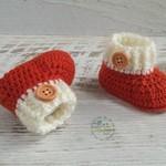 Orange/Cream Newborn Crochet Baby Booties Shoes Socks Pregnancy Baby Reveal