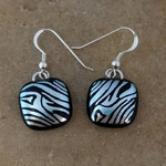 Fused zebra glass dichroic earrings