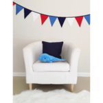 Boys blue, red and white fabric bunting banner flags.