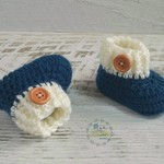 Teal Blue/Cream Newborn Crochet Baby Booties Shoes Socks Pregnancy Baby Reveal