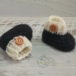 Charcoal/Cream Newborn Crochet Baby Booties Shoes Socks Pregnancy Baby Reveal