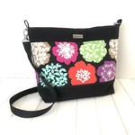 Handbag / Slouch Bag / Bucket Bag with Floral Echino Fabric and Black Canvas