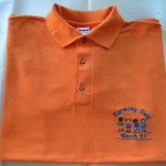 "Embroidered Orange ""HARMONY DAY"" Polo-Shirt for adults. Sizes S, M"