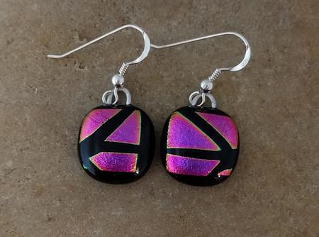 Fused glass dichroic earrings