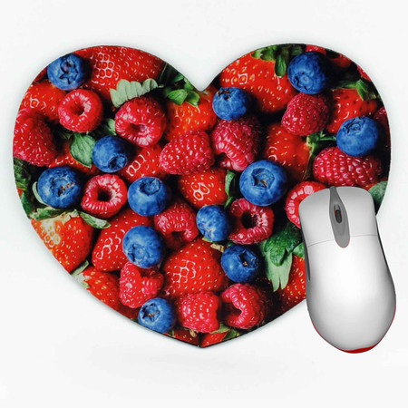 Berries Mouse Pad - Heart shaped mouse pad - Mixed Berries