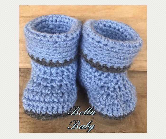 Newborn Crochet Knit Baby Booties With Roll Down Cuffs Bella Baby