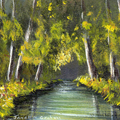 Summer River ACEO, Miniature Painting, Original Landscape acrylic painting,