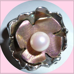 Titanium, sterling silver and cultured pearl ring